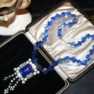 COBALT GLASS RHINESTONES HAND KNOTTED NECKLACE